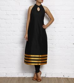 Black Cotton Silk Kurti