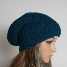 Slouchy Knitted Hat Large Men Women. Knit slouchy by WoolyThinker