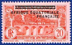 French Equatorial Africa 17 Stamp - Middle Congo Stamp - AF FEA 17-1 HH