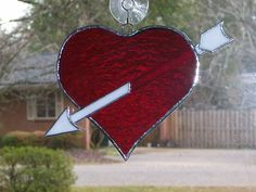 STAINED GLASS HEART WITH ARROW DOWN | eBay