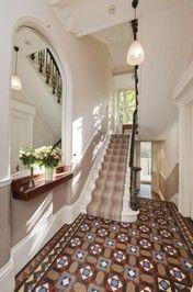 Interior stairs ideas entrance ideas for 2019 Victorian Terrace Hallway, Edwardian Hallway, Victorian Terrace Interior, Victorian Homes, Victorian London, Victorian Interiors, House Stairs, Facade House, Hallway Designs