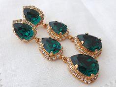 Emerald green LONG Chandelier earrings Drop by EldorTinaJewelry