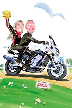 Couple pictured in their own bike going to the church