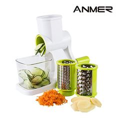 ANMER CS662 Settled Base Cheese Grater Vegetables SlicerShredder with 3 Interchangeable Cylinder Blades  Professional Vegetable Salad Shooter >>> Visit the image link more details. Note:It is affiliate link to Amazon.