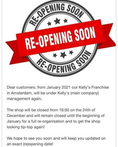 """AMSTERDAM UPDATE! So many updates for you all today! 😁 As stated above, our Amsterdam store will be coming under Kelly's Management in…"""" • Dec 17, 2020 at 2:17pm UT Kelly S, Amsterdam, Management, Store, News, Kitchen, Cooking, Storage, Business"""