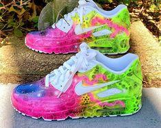 🔥 For sale: custom neon nike air max galaxy sneakers Neon Nike Shoes, Neon Sneakers, Rainbow Sneakers, Nike Neon, Nike Shoes Air Force, Floral Sneakers, Air Max Sneakers, Sneakers Fashion, Nike Air Max
