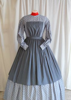 This gorgeous apron would be the perfect addition to your Civil War reenactment wardrobe. Made of high-quality, 100% cotton reproduction fabric, with all stitching visible on the outside done by hand, it is period-correct and ready to wear for your next reenactment. Measurements: Bib