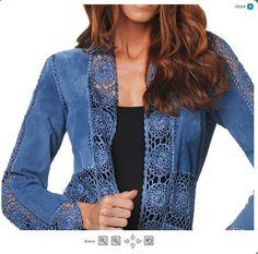(Ideas from the Internet) / Crochet / Women clothes hook. Crochet Coat, Crochet Fabric, Crochet Jacket, Crochet Blouse, Lace Fabric, Crochet Clothes, Diy Clothes, Blue Jean Quilts, Sewing Jeans
