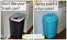 Painting a trash can to match the kitchen!                                                                                                                                                                                 More