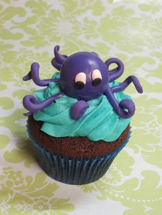 Purple Octopus Cupcake