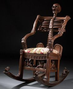 Skeleton rocking chair. Carved wood  Russia, 19th century