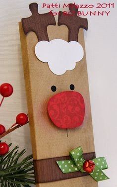 decorate a canvas or piece of wood to look like rudolph for some cute holiday…