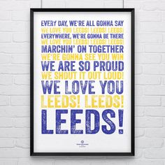 FOR MATT Leeds United 'We Love You' Song Print Poster