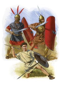 Early Polybian-era or late Camilan Romans.  The Polybian army's operations during its existence can be divided into 3 broad phases. (1) The struggle for hegemony over Italy, especially against the Samnite League (338-264 B.C); (2) the struggle with Carthage for hegemony in the western Mediterranean Sea (264-201 BC); and the struggle against the Hellenistic monarchies for control of the eastern Mediterranean (200-91 BC).