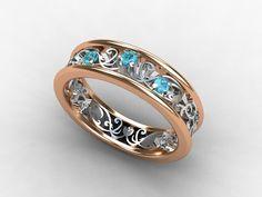 Aquamarine ring, rose gold, white gold, filigree ring, lace ring, blue wedding, wedding band, vintage style, aquamarine. $1,450.00, via Etsy.