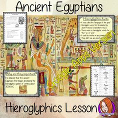 Distance Learning Ancient Egyptian Hieroglyphics Google Slides Lesson. The children will learn what they were, why are they are important and look at the difference between our writing system and theirs. There is a detailed 22 slide presentation and four versions of the 6-page, Google Slides worksheet to allow children to show their understanding, along with an activity to write in hieroglyphics. Ancient Egypt Religion, Ancient Egypt For Kids, Ancient Egypt History, Teaching History, Teaching Kids, Teaching Resources, Science Lessons, English Lessons, Egyptians