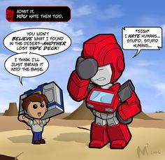 Lil Formers - Spike by MattMoylan on deviant art <<< oh i found a random lost tape deck in the desert, how convenient, I'll bring it back to base. OH ITS SOUNDWAVE. why hello what a nice surprise. Transformers Humanized, Transformers Funny, Transformers Decepticons, Hello What, Fanart, Nerd Love, Screwed Up, Sound Waves, Super Funny