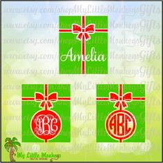 Christmas Present Monogram Base Designs Digital Clipart Instant Download SVG DXF EPS Jpeg Png - pinned by pin4etsy.com