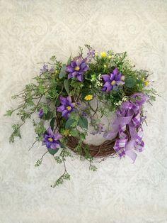 Purple Spring Wreath Easter Wreath Spring by AdorabellaWreaths, $123.00