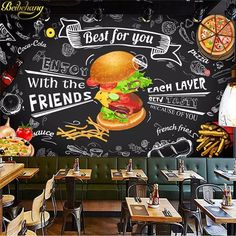 beibehang Custom Burger fast food Wall paper restaurant snack bar catering Wa… - Famous Last Words Burger Restaurant, Restaurant Hamburger, Deco Restaurant, Burger Bar, Fast Food Restaurant, Coffee Shop Design, Cafe Design, Food Design, Small Restaurant Design