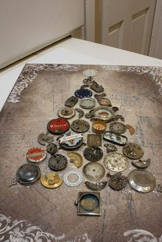 collage: Christmas tree of vintage watch parts