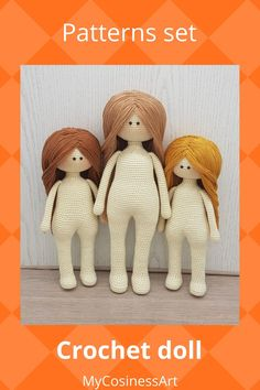 Crochet doll pattern. English pattern is provided as a digital file in PDF format. The finished product is 11.8 inches / 30 cm tall and 9.4 inches / 24 cm tall. #crochetamigurumi #amigurumipattern #CrochetDoll #Crochetpattern #mycosinessart Crochet Doll Pattern, Crochet Patterns Amigurumi, Knitting Patterns, Crochet Deer, Diy Crochet And Knitting, Handmade Ideas, Handmade Toys, Crochet Bodies, Unique Crochet