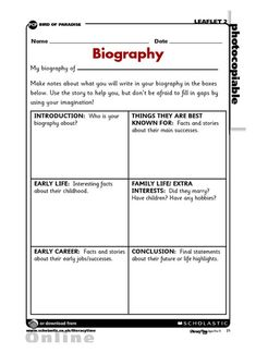 how to write a biography for kids template - Google Search | School ...