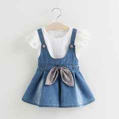 Baby Girls Lace T-shirt+Denim Overalls Skirt Dresses Outfits Clothes Set