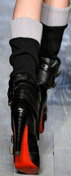 christian louboutin gurrierre slouchy buckle boots. #shoeporn