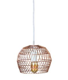 Perfect for a children's bedroom or playroom, this mini pendant offers a bold statement and comes in both copper and chrome finishes. The basket weave look of the metal-plated iron shade offers a whimsical vibe by casting quirky shadows throughout the room.
