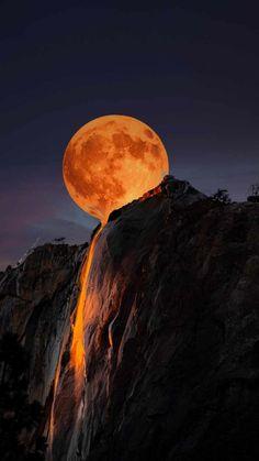 Moon Horsetail Falls Yosemite National Park - IPhone Wallpapers