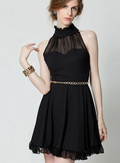 Latest Sleeveless Solid Color Halter Short Day Dress