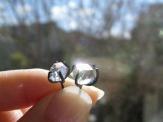 Oxidized Silver Herkimer Diamond Earrings from Etsy.