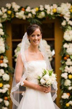Brand New Erin Cole Veil, medium length wedding dress, white bridal bouquet, bordered wedding veil, hair up, bridal hairstyle, square neckline wedding dress
