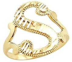 """Size- 4.5 - 14k Yellow Gold Initial Letter Ring """"S"""". 14k yellow gold initial ring. This ring has a dazzling high polish finish. Pure 14k Gold, not plated. Authenticated with a 14k stamp. This ring is absolutely stunning and we are confident you will love it. ."""