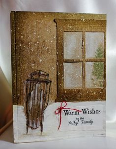 Stampin' Up! Home & Hearth thinlit, Warm wishes Homemade Christmas Cards, Christmas Cards To Make, Xmas Cards, Homemade Cards, Holiday Cards, Winter Christmas, Window Cards, Stamping Up Cards, Cool Cards