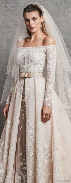 zuhair murad fall 2018 bridal long sleeves off the shoulder straight across neckline heavily embellished bodice romantic princess ivory a line wedding dress chapel train (2) zv -- Zuhair Murad Fall 2018 Wedding Dresses