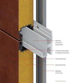 Wall cladding system for ventilated façades: thermal break panels with reduced sections in the complete range of materials and finishes Steel Cladding, Wall Cladding, Metal Building Homes, Building Facade, Detail Architecture, Interior Architecture, Facade Design, Exterior Design, External Cladding