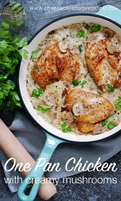 Golden chicken breasts in a creamy mushroom sauce make a quick and easy weeknight dinner. Serve with steamed greens for a delicious low-carb meal that's high in flavour.