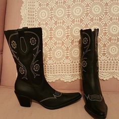 NEW Leather!  cute Cowgirl boots Never worn   Franco Sarto black, all leather,  paid 60, and that was a good deal !  Super excellent condition Franco Sarto Shoes Heeled Boots