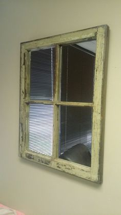 Large Vertical White Window Mirror from by TheDecorativeCompany Window Pane Mirror, Distressed Mirror, White Mirror, Old Windows, Brass Handles, Handmade Decorations, Home Accents, Rustic Decor, Natural Wood