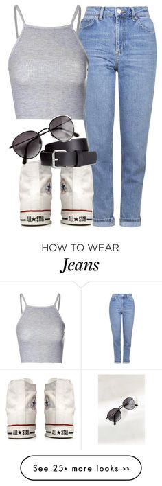 """mom jeans insp"" by littlemixmakeup on Polyvore featuring Topshop, Converse, Glamorous and H&M"