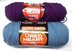 Red Heart Super Saver yarn lot Dark orchid Country blue 4 medium worsted acrylic #Redheart #Plain