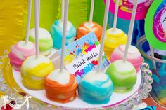 Art Party Paint Ball Cake Pops Frost the Cake by FrosttheCake, via Etsy.