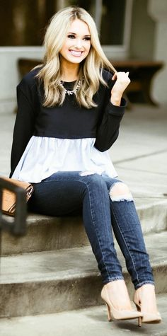 Black Crop Top + White Blouse + Destroyed Skinny Jeans + Nude Pumps