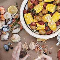 Rachael Ray's Backyard Clambake - my husband isn't a fan of Rachael, but this is his favorite thing to make for company in the summer!