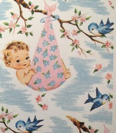 ~Vintage baby shower-kaart~