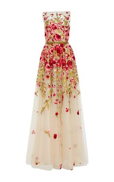 Dream gown Floral Embroidered Sleeveless Gown by Naeem Khan for Preorder on Moda Operandi