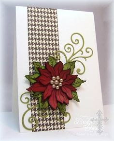Poinsettia for Jen by bfinlay - Cards and Paper Crafts at Splitcoaststampers- Poinsettia by Sweet n Sassy Stamps. Homemade Christmas Cards, Christmas Cards To Make, Xmas Cards, Christmas Greetings, Homemade Cards, Handmade Christmas, Holiday Cards, Christmas Crafts, Crochet Christmas