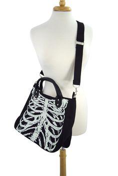 Banned Gothic Emo Ribcage Skeleton Glow in the Dark Shoulder Bag